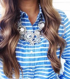 Add a clear crystals statement necklace to your bright shirt for an all season outfit! Find one today at mod&soul.com