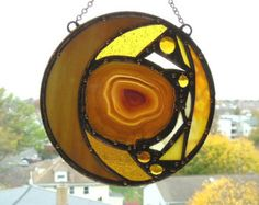 Stained Glass|Round Stained Glass with Agate|Agate|Disc|Glass Medallion|Gold Glass|Abstract Stained Glass|OOAK|Handcrafted|Made in USA