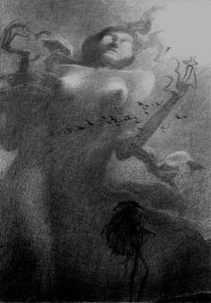 Zdzislaw Beksinski Gallery: Drawings of Zdzisław Beksiński Part II Myths & Monsters, Scary Art, Surrealism Painting, Surreal Art, Macabre, Light In The Dark, Painting & Drawing, Cool Art, Creatures
