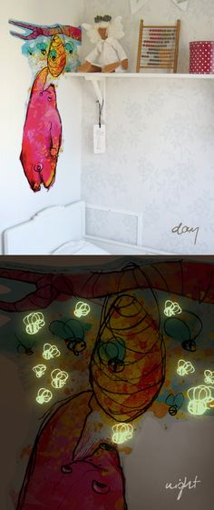 Unusual stickers for children on the wall. At night, discover the secret. The glowing items. via: http://bobom.pl/category-lesny-ul