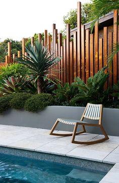 Garden Design Backyard - New ideas Modern Garden Design, Landscape Design, Modern Design, Contemporary Garden, Backyard Fences, Backyard Landscaping, Tropical Pool Landscaping, Backyard Privacy, Landscaping Ideas