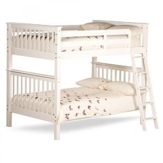 The Malvern White Wooden Quadruple Sleeper Bunk Bed is a double sized bunk bed, which may be considered a somewhat strange concept, but it does provide ample space for up to four people to sleep comfortably. Finished with a coat of classic white paint, th Double Bunk Beds, Modern Bunk Beds, Bunk Beds With Stairs, Kids Bunk Beds, Underbed Storage Drawers, Bedding Inspiration, White Duvet Covers, Under Bed Storage, Murphy Bed