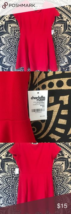 """Red skater dress Red skater from Charlotte Russe! Extremely flattering and stretchy. Hits right above knee, I'm 5'8"""" for reference. Has a small spot on back where material is pulled, they sent it to me like that. Charlotte Russe Dresses"""