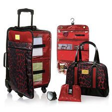 JM Safari Chic Color Me Leopard Travel with Ease Getaway Set /luggage - RED New
