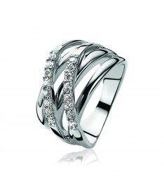 ZINZI zilveren ring wit ZIR552