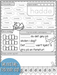 Mengdetrening med høyfrekvente ord 2 Danish Language, Kids Education, Norway, Homeschool, Journal, Writing, Reading, Tips, Montessori