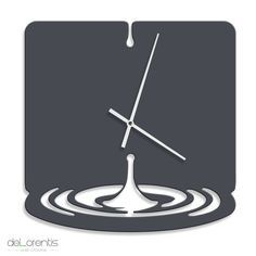 "Metal Wall clock WATERDROP - 40 cm / 16"" - Laser cutting design - © Tolonensis Creation"
