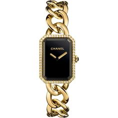 CHANEL PREMIÈRE 18K Yellow Gold Chain Watch with Diamonds ($27,800) ❤ liked on Polyvore featuring jewelry, watches, bracelets, accessories, chanel jewelry, gold diamond watches, gold wrist watch, diamond dial watches and gold jewelry
