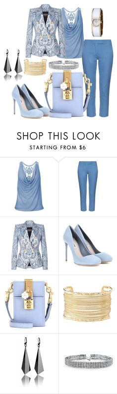 """pretty"" by kim-coffey-harlow ❤ liked on Polyvore featuring 'S MaxMara, Balmain, Miu Miu, Dolce&Gabbana, Charlotte Russe, Bling Jewelry and Caravelle by Bulova"