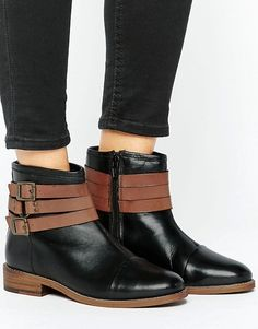 Ravel Strap Leather Flat Boot