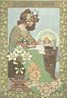 December illustration by Gaspar Camps (1874-1942).