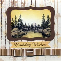 Stampscapes Lakeside Cove, Brayered backgound, scenic stamping Handmade cards, Rubber Stamping