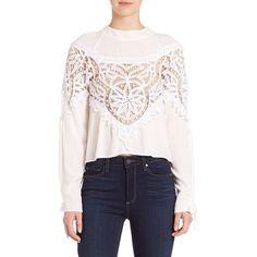 For Love & Lemons Santa Cruz Lace Inset Silk Blouse (700 BRL) ❤ liked on Polyvore featuring tops, blouses, apparel & accessories, ivory, crop top, pink crop top, ivory blouse, lace up crop top and silk tie blouse