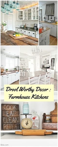 Drool Worthy Decor : Farmhouse Kitchens • Join us in our tour of some amazing bloggers Farmhouse Kitchens!
