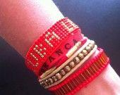 Manchette de bracelets brésiliens rouge