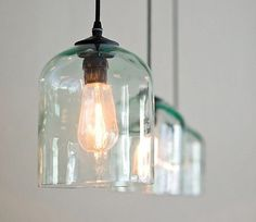 Recycled glass pendant lights for over the island