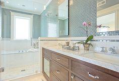 Bathroom - Tile + Cabinet + Tub in shower