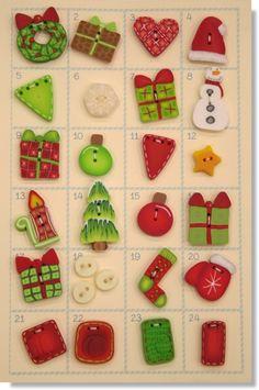 Calendrier de Noël : 24 boutons en Fimo sur www.manucrea.fr