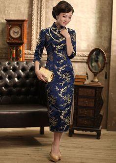 Retro Silk Brocade Cheongsam Elegant Chinese Floral Tea Length Qipao Dress