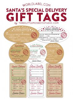 """{note} Santa's Special Delivery gift labels: Designer Gretchen of Threelittlemonkeys.com Link: http://www.threelittlemonkeysstudio.com/santas-special-delivery-printable-gift-tags/ Reward those that made it on the """"nice"""" or """"naughty"""" list! Free Download (NOTE! You can't edit the text in your browser), open the file PDF in Adobe Acrobat or Reader. The font is already embedded, just type in names & dates. Then print on the white label paper specified or kraft label paper. #eaglehoof"""