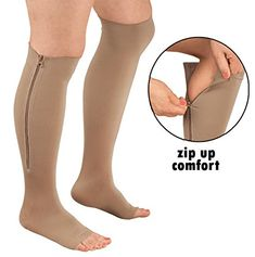 Open Toe Zipper Compression Support Socks Toeless Stockings - A to buy product that increases height at least - Eyelash Shop Compression Hose, Compression Stockings, Compression Sleeves, Support Stockings, Support Socks, Support Hose, Bustiers, Aching Legs, Swollen Ankles