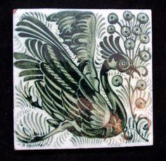 William De Morgan Bird Tile by WILLIAM DE MORGAN - AD Antiques Tile Art, Tile Painting, Victorian Tiles, Decorative Tile, Arts And Crafts Movement, William Morris, Creatures, Tapestry, Birds 2
