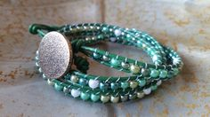Exclusive Green Triple Wrap Leather Beaded by StudioSunshineCo