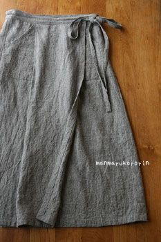 just a simple linen wrap skirt----OMG this looks just like the wrap skirt I made in home-ec in 8th grade!!!! - blouses, cotton, denim, bow, for women, printed blouse *ad