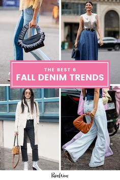 Our relationship with denim may be complicated at the moment but we're still buying into these 6 trends. #denim #trends #fall Chic Fall Fashion, Fall Fashion Trends, Denim Trends, Shearling Jacket, Colored Denim, City Chic, Color Trends, Mom Jeans
