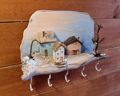 Items similar to Key holder for wall, Driftwood art with little wooden houses with a rustic cottage style on Etsy Water Based Acrylic Paint, Wall Key Holder, Beach Gifts, Key Rack, House Ornaments, Driftwood Art, Driftwood Beach, Coastal Art, Miniature Houses
