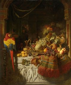 George Lance, FRUIT STILL LIFE WITH PARROT, Auction 939 Old Masters, Lot 1275