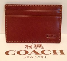 Coach British Tan Water Buffalo Leather Money Clip Card Case F74393 – JustTrendyOnline