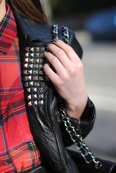 Plaid, leather, studs. rocking grunge #style #fashion #grunge