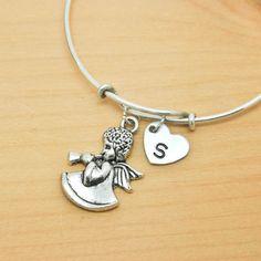 Angel Bangle, Sterling Silver Bangle, Angel Bracelet, Expandable Bangle, Personalized Bracelet, Charm Bangle, Monogram, Initial Bracelet by JubileJewel on Etsy
