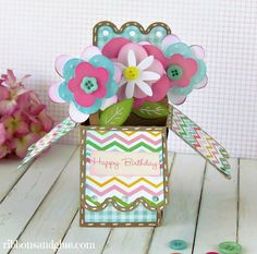 Flower Pot Box Card - a Silhouette project - Ribbons & Glue