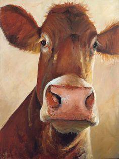 Cow Painting Camile Canvas Print of an original by ArtPaperGarden, $78.00