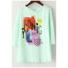 V-Neck 3/4 Sleeves Abstract Print Long Tee ($29) ❤ liked on Polyvore featuring tops, t-shirts, green tee, long length t shirts, long tshirts, long t shirts and v neck graphic tees