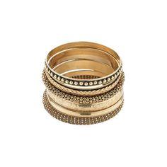 O mix de pulseiras é ouro no pódio de hits superdescolados - moda -... ❤ liked on Polyvore featuring bracelets and pulseiras