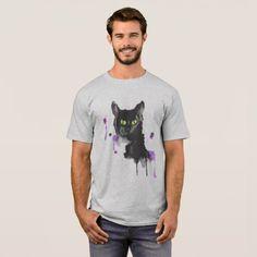Watercolor Black Cat - Basic T-Shirt - watercolor gifts style unique ideas diy