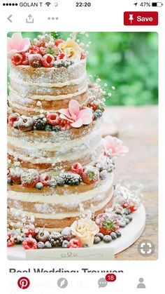 rustic wedding ideas--Rustic naked wedding cakes with fruits, diy wedding food on a budget, fall weddings, country weddings Beautiful Cakes, Amazing Cakes, Bolos Naked Cake, Wedding Rituals, Wedding Catering, Wedding Venues, Destination Wedding, Let Them Eat Cake, Cake Designs