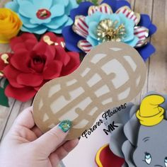 Found a peanut! These were hard to see on the backdrop, but do come as an add-on to the flower set . Dumbo Cake, Dumbo Baby Shower, Fiestas Party, Forever Flowers, Large Paper Flowers, Scotch Tape, Circus Theme, Yellow Accents, Backdrops