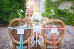 French cane back chairs with ribbon. Photography by bubblerock.co.nz  Read more - http://www.stylemepretty.com/2013/08/26/french-chateau-wedding-inspiration-from-bubblerock/