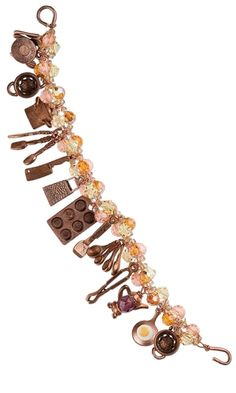 Bracelet with Kitchen Themed Antiqued Copper Pewter Charms and Swarovski® Crystal Beads - Fire Mountain Gems and Beads