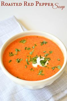 Roasted Red Pepper Soup, cooks in 30 minutes.  My kids say it tastes like pizza!  Definite win