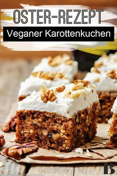 Veganer Karottenkuchen schmeckt zwar nicht nur zum Osterfest, passt aber besonders gut! Wir zeigen euch, wie ihr saftigen Karottenkuchen vegan zubereiten könnt. #ostern #rezepte #vegan #osterküche #frühlling Brunch, Mai, Tricks, Banana Bread, Desserts, Food, Bakken, Vegan Carrot Cakes, Tailgate Desserts