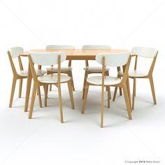 Oslo 7pce Dining Set - Oak & White 15% OFF   $1,099.00 - Milan Direct