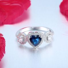 Dazzling-Women-925-Silver-Heart-Cut-Sapphire-Engagement-Ring-Wedding-Jewelry
