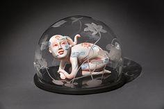 BENEATH THE LOTUS, 2014 Formatting glass, ceramic, underglaze, glaze, plexiglas, mixed media    14 x 20 x 20 in