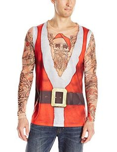 8cb9a94fdee2 Faux Real Men s Santa Suit with Tattoos Tank and Long Mesh Sleeves