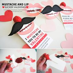 Free printable Valentines ... mustache and lip suckers! So cute!